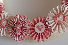 Valentine Wreath Made With Paper Rosettes