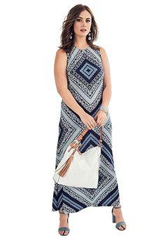 Roamans Women s Plus Size Print Maxi Dress 55