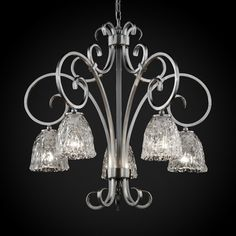 Victoria 5 Light Downlight Chandelier Shade pattern: Clear Textured Shade shape: Tulip with Rippled Rim Finish: Brushed Nickel image