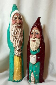 Hand-carved and painted Old World Santas by Elizabeth Brown, Liverpool, NS.