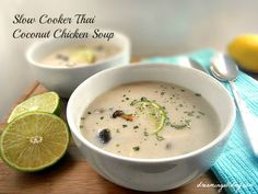 Slow Cooker Thai Coconut Chicken Soup | Dreaming All Day