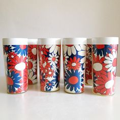 Excited to share this item from my #etsy shop: VINTAGE | set of 8 retro red, white & blue daisy print West Bend Thermo tumblers #housewares #daisy #retrodaisy #70sdrinkingglass #redwhiteandblue #fourthofjuly #westbendthermo #daisies #vintageflowerprint