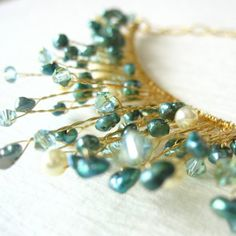 aqua pearl & crystal twisted gold wire necklace- may use idea for mermaid tiara