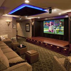 cool movie room and stage--kids would love it