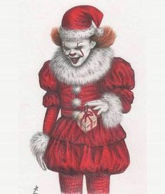 Happy holidays or merry Christmas to all of you! Illustration by seen via Christmas Horror Movies, Halloween Horror, Merry Christmas, Dark Christmas, Christmas Holidays, Horror Icons, Horror Art, Ariana Grande Drawings, Pennywise The Dancing Clown