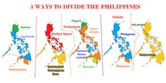 5 Ways to Divide The Philippines (Asia, Philippines) Images Wallpaper, Baybayin, Philippines Culture, Roman Catholic, 5 Ways, Taiwan, Wonders Of The World, Infographic, Divider