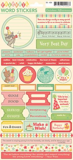 Cakewalk - Word Stickers Travel Scrapbook, Diy Scrapbook, Scrapbook Supplies, Craft Supplies, Bullet Journal 2, Diy And Crafts, Paper Crafts, October Afternoon, Planner Sheets