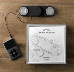 Go Anywhere MP3 Speakers, $29, Restoration Hardware