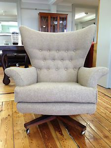 G Plan Chair Swivel, Rocking Retro Vintage Reupholstered Abraham Moon 100% Wool