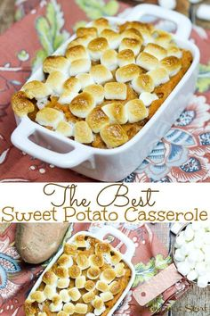 The Best Sweet Potato Casserole with marshmallows- an easy, classic and souther. - The Best Sweet Potato Casserole with marshmallows- an easy, classic and southern recipe for Thanks - Sweet Potato Casserole Recipe With Marshmallows, Best Sweet Potato Casserole, Loaded Sweet Potato, Recipes With Marshmallows, Sweet Potato Marshmallow, Thanksgiving Sweet Potato Recipes, Holiday Recipes, Thanksgiving Sides, Vegetarian Thanksgiving