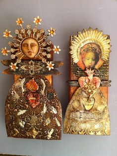 Laurie Mika-Wall dolls~or what to do with all that leftover craft material you have lying around! These are beautiful!