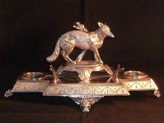 Elegant Antique James Deakin & Sons Silver Plated Fox Inkwell & Desk Tidy #JamesDeakinSons
