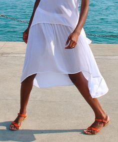 White Hi-Low Skirt