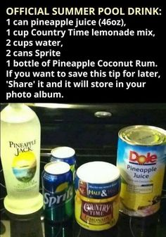 Summer Pool Drink (can make without rum) Soap, Drinks, Beverages, Bottle, Party Ideas, Flask, Drink, Ideas Party, Beverage