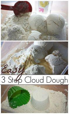 Cloud Dough Easy 3 Step sensory Play