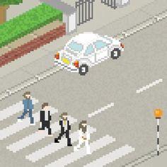 The Beatles - Abbey Road Pixel Art 8 Bits, Abbey Road, Vintage Artwork, Vintage Posters, Pixel Art, 8bit Art, Pop Rock, Graphic Design Branding, Graphic Illustration