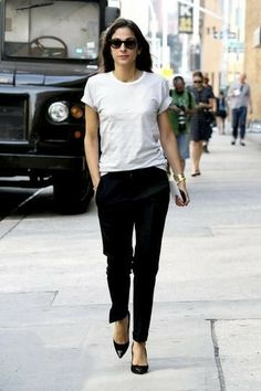White T-shirt, fitted black slacks, black pumps. 50 Casual Spring Outfits to Try Right Now | StyleCaster