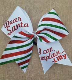 Christmas cheer bow Dear Santa cheer bow by ThatSparkleShop