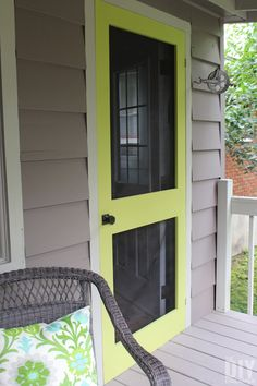 A great way to add some color to your front porch is by building a screen door and painting it a fun bright color. Learn how to build your very own DIY Screen Door. Outdoor Decor, House Design, Wooden Doors, Interactive Kitchen Design, Cool House Designs, Front Door, Diy Door, Diy Screen Door, Doors