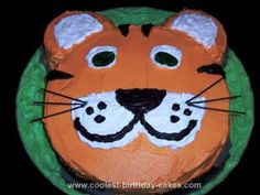 Homemade Tiger Birthday Cake: I made this Homemade Tiger Birthday Cake after looking at several pictures of others, combining ideas I liked. It was two layers. The cake was just a boxed