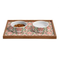 Raven Jumpo Coral Damask Pet Bowl and Tray