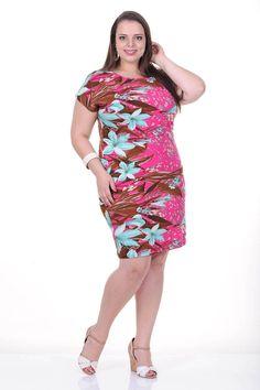 Moda feminina plus size   81813 Vestido com barrado lateral