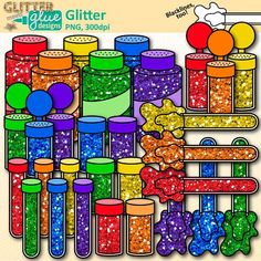 Glitter clipart galore! Shake, shake, shake some glitter all over your classroom and Teachers Pay Teachers product covers with this sparkly -filled set of glitter shakers, tubes, bottles, and containers. LINK: https://www.teacherspayteachers.com/Product/Glitter-Clip-Art-2044106 #glitter