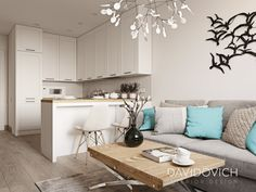 apartment on Panelnaya str. on Behance Small Apartment Kitchen, Small Apartment Design, Apartment Living, Studio Apartment Decorating, Condo Interior Design, Home Design Decor, House Design, Condo Design, Small Living Rooms