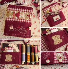 dulces pilukas Sewing Caddy, Sewing Art, Love Sewing, Sewing Crafts, Needle Case, Needle Book, Quilting Projects, Sewing Projects, Quilt Storage