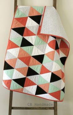triangle quilt love the colours!!