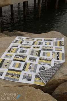 Quilt pattern by beth Love white, black, gray, and yellow