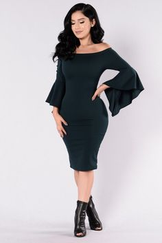 - Available in Hunter Green - Off Shoulder Dress - Bell Sleeves - Midi Length - Fitted - Made in USA - 96% Polyester 4% Spandex