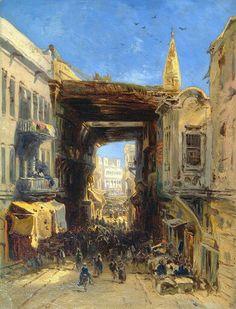Algérie - Peintre Francais Eugène Isabey (1803-1886) , Huile sur Carton 1830, Titre : Rue dans la casbah d'Alger