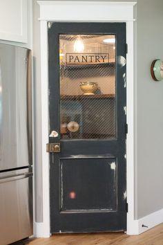 Vintage door repurposed as pantry door - by Rafterhouse. Kitchen With Corner Pantry, Small Pantry Closet, Corner Pantry Cabinet, Kitchen Pantry Doors, Built In Pantry, Rustic Pantry Door, Wooden Pantry, Vintage Pantry, Vintage Fridge