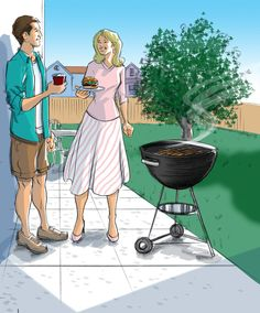 Ready for sunny weather! And bbqs! And drinks on patios!   artist: rick lundeen  www.edseyart.com/blog