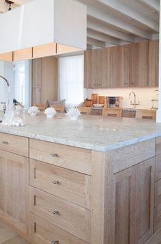 Oak, marble. Like the modern rectangular light - maybe pendant over the kitchen nook table.