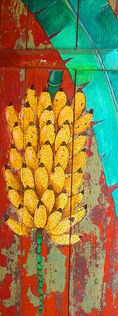 Pintura de bananas em madeira. Mais