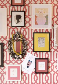 Feature wall - pink trellis stencil