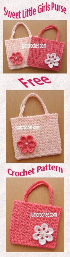 Free crochet pattern for sweet little girls purse. #crochet #crochetbaby