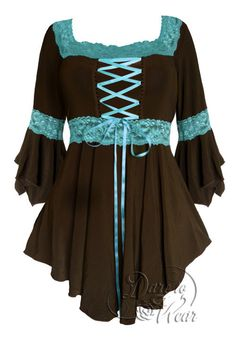 Dare To Wear Victorian Gothic Renaissance Corset Top Brown/Turquoise