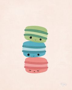 Three's Company - Macaroon Cookies, Food Art, Wall Art, Home Decor, French Treats, Sea Blue, Quirky, Kawaii - 8 x 10 - Illustration Print. $16.00, via Etsy.