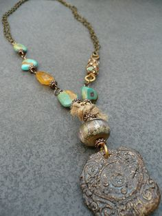 COMMON GROUND-handmade turquiose, and art bead necklace. by Sharon Borsavage- Love this!!!