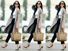 Get this look: http://lb.nu/look/8552637  More looks by Claudia Salinas: http://lb.nu/misssalinas  Items in this look:  Céline Luggage Bag, Ray Ban Hexagonal Sunglasses, Naked Wardrobe Bodysuit, Gucci Gg Belt, Christian Louboutin So Kate, Zara Coat, H&M Dress Pants   #chic #classic #street #bodysuit #celine #christianlouboutin #blackandwhite #business #blogger