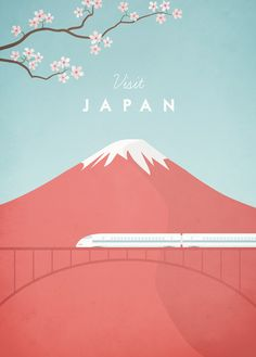 Vintage style travel poster of Japan. An original illustration for Travel Poster Co. by Henry Rivers.
