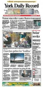 York Daily Record front page April 9, 2012