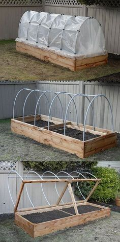 Elevate Your Garden Style With A DIY Raised Planter Raised Planter – The hinged lid allows for quick access, as well as easy venting. Hoop house plastic can be rolled up in the summer to keep rain off tomatoes, or removed entirely during the hot months. Diy Planters, Garden Planters, Outdoor Planters, Tall Planters, Dream Garden, Home And Garden, Diy Greenhouse, Underground Greenhouse, Homemade Greenhouse