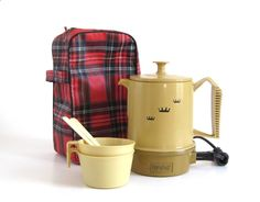 Poly Perk Travel Coffee Percolator Regal Electric Hot Pot 2-4 cup #7503 Red Tartan Plaid Pouch Harvest Gold Percolators by LaurasLastDitch on Etsy www.etsy.com/...