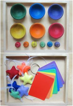 Great toddler invitation to play ideas: mirrors, matching fabric squares, wind wand, instruments ....