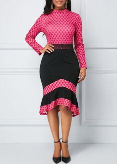 Frill Hem Long Sleeve Plaid Print Sheath Dress | Rotita.com - USD $33.14