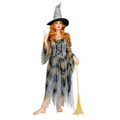 Grijze vodden heksenjurk. Mooie grijze vodden heksenjurk met aan de voorkant een vetersluiting. Exclusief hoed. Gemaakt van 100% polyester.